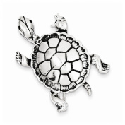 Sterling Silver Antiqued Turtle Pin, Best Quality Free Gift Box Satisfaction Guaranteed