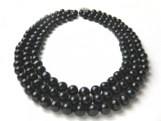 Triple Strand 8.5 - 9.5mm Deep Black Freshwater Cultured Strung Pearl Strand Necklace -nk53