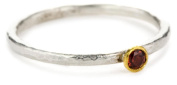 "GURHAN ""Skittle"" Sterling Silver, Yellow Gold, and Garnet Stackable Ring, Size 7"