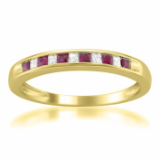 14k Yellow Gold Princess-cut Diamond and Red Ruby Wedding Band Ring