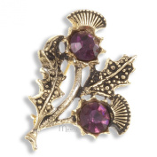 Gold Plated Amethyst Crystal Double Thistle Brooch