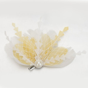Janeo Small Fascinator & Brooch Pin in One. The Montebello Fascinator; Fan feathers arrangement, Shaped Ostrich Feathers. Budget Price, Stunning design, Black & White. Gold, Grey and Fuchsia Pink