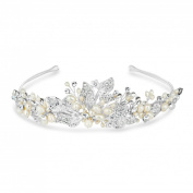 Jon Richard Freshwater pearl and crystal leaf hand wrapped tiara Silver