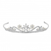 Jon Richard Childs pearl and crystal flower tiara Silver