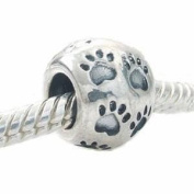 JewelTime One Genuine Solid Sterling Silver Paw Print Charm Bead - Size 10X7.7 mm - to fit Pandora, Chamilia, Biagi and similar 3mm European Bracelets