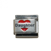 Daughter in red heart laser charm - 9mm Italian charm will fit Nomination classic bracelet