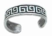 925 sterling Silver Adjustable Toe Ring Greek Key Maze Pattern