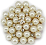 Elixir77UK Gold Colour Flower Wedding Bridal Pin Brooch With Plain Crystals and Faux Pearls