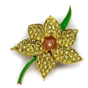 Elixir77UK Gold Colour Daffodil Flower Fashion Pin Brooch With Plain Crystals and Enamel