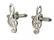 Solid Silver Treble Clef Music Note Cufflinks