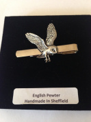 B19 Barn Owl English Pewter emblem on a Tie Clip (slide) Handmade in sheffield comes with PrideInDetails gift box