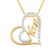 Ornami Gold Plated Silver CZ Heart Shape 'Nan' Message Pendant 46cm Chain