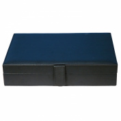Mens Black Leather Cufflinks Tie Clip Ring Wedding Jewellery Storage Box Case With Velvet