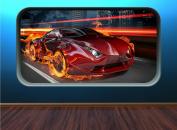 Fire Car FC1 Fast Racing Sports Car Kids Window Flames Speed Huge Wall Art Sticker Decal