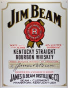 FRENCH VINTAGE METAL SIGN 40x30cm JIM BEAM BOURBON WHISKY
