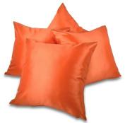 Set of 4 Orange Taffeta/Faux Silk 46cm Cushion Covers