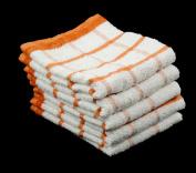 Pack of 10 ORANGE & WHITE 100% Cotton 33cm x 58cm Kitchen Terry Tea Towels