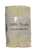 2 x Baby Pram/Crib/ Moses Basket Jersey Fitted Sheet 100% Cotton Cream 40x80cm