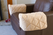 Pair of Quilted Arm Chair Protectors Furniture Covers Sofa Arms Beige