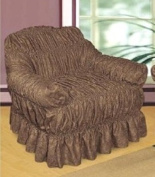 CHOCOLATE Jacquard Arm Chair Cover - Universal Elastic Fitting. a throw) HC