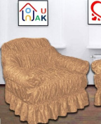 BEIGE Jacquard Arm Chair Cover - Universal Elastic Fitting. a throw) NAKUK