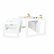 3 in 1 Childrens Furniture Multifunctional Set of 3 Two Chair Tables Small and One Bench Table Large Beech Wood, White Stained