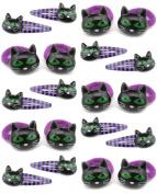 Zest 20 Halloween Hair Accessories 10 Ponios & 10 Clips Purple