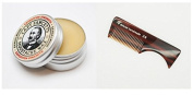 Moustache Wax (Expedition Strength Sandalwood Scent) and Deluxe Handmade Moustache/Beard Comb Kit