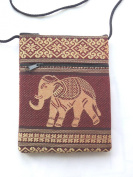 Elephant passport shoulder bag - rich brown cotton with 2 pockets