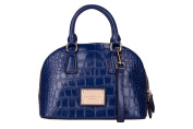 Navy Blue Leather Handbag Rounded Top with Croc Embossing by Smith & Canova