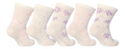 5 Pairs Baby Elle BE05 Girls White with Flowers Ankle Socks