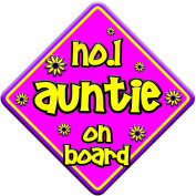 FLORAL NO.1 AUNTIE Baby on Board Car Window Sign