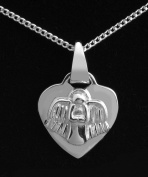"""Sterling Silver necklace for Birth or Christening, featuring a small heart engraved with the words """"Guardian Angel Protect Me"""" and an angel on the reverse."""