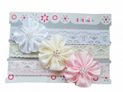 Baby Girls 3 Piece Lacey Headbands Gift Set IN VOILE GIFT BAG - 0-6 Months - Diamante Flowers