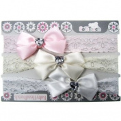 3 pack lace baby headband with diamante satin bow by Soft Touch with pink voile gift bag