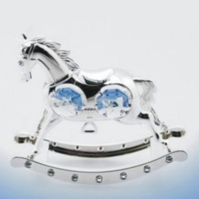 CHRISTENING BABY BOY GIFT SILVER PLATED ROCKING HORSE WITH. ELEMENTS