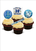 NOVELTY 30TH BIRTHDAY PARTY MIX Boys Male Blue - Standups 12 Edible Standup Premium Wafer Cake Toppers