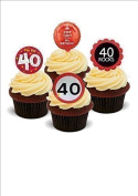 NOVELTY 40TH BIRTHDAY BRIGHT PARTY MIX Male Female - Standups 12 Edible Standup Premium Wafer Cake Toppers
