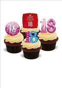 NOVELTY 18TH BIRTHDAY PARTY MIX Girls Female Pink - Standups 12 Edible Standup Premium Wafer Cake Toppers