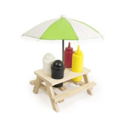 CONDIMENT HOLDER PICNIC SAUCES WOODEN BENCH UMBRELLA SET SALT PEPPER OUTDOOR FUN
