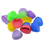 10X Sweet Heart Jello Ice Maker Dessert Muffin Cup Cake Silicone Baking Moulds