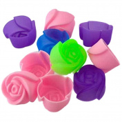 10pcs Cake Baking Mould Chocolate Jelly Maker Mould Silicone Rose Muffin Cookie Cup