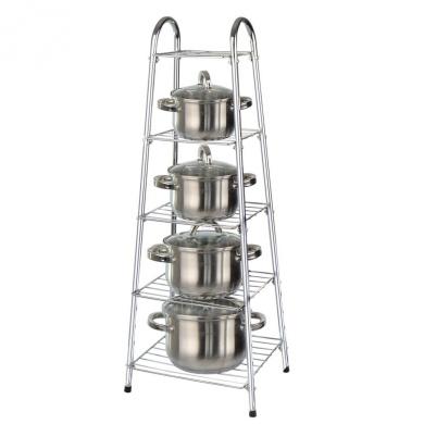 5 Tier Pan Stand Saucepan Rack Unit Organiser Kitchen Pot