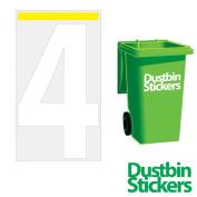 4 x Number 4 Wheelie Bin Stickers