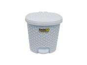 5.5 Litre RATTAN White Pedal Bin Bathroom Waste Dustbin Kitchen Wicker Effect