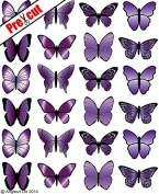 PRE-CUT MEDIUM PURPLE BUTTERFLIES M2 EDIBLE RICE / WAFER PAPER CUP CAKE TOPPERS BIRTHDAY PARTY WEDDING DECORATION B18