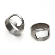 IGGI Stainless Steel Ring Finger Beer Bottle Opener Silver with IGGI logo Pack of 2