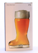 Glass Beer Boot 2 Pint - 24.5cm Glass Boot Holds 1.3 Litres to the. im
