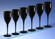 Dishwasher Safe Unbreakable Reusable Polycarbonate High Quality Black Champagne Flutes 180ml / 6oz