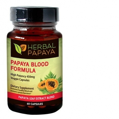 Papaya Leaf Extract Blood Support Formula 450mg - 60 Veggie Capsules by Herbal Papaya